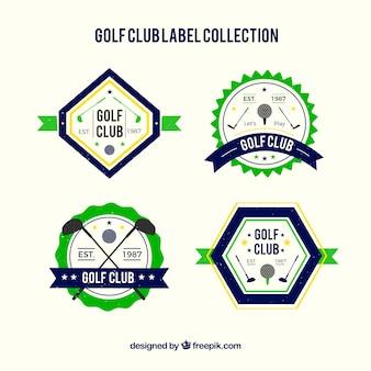 Conjunto de etiquetas de golfe verde e azul