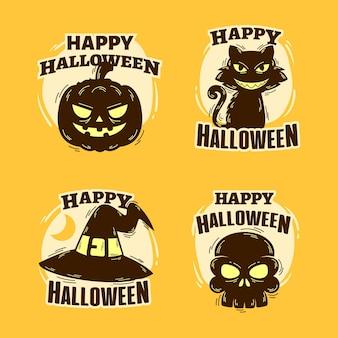 Conjunto de etiquetas de halloween de mão desenhada