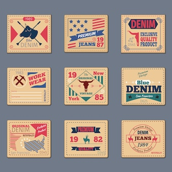 Conjunto de etiquetas de jeans vintage