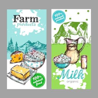 Conjunto de etiquetas de leite de produtos agrícolas