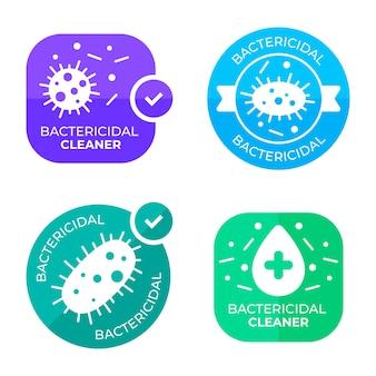 Conjunto de etiquetas de limpador bactericida