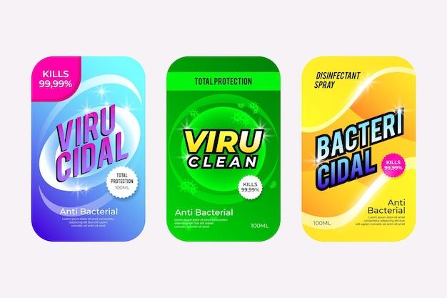 Conjunto de etiquetas de limpador viricida e bactericida
