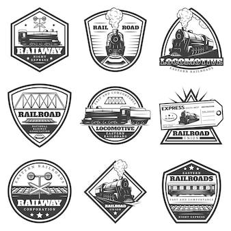 Conjunto de etiquetas de locomotivas monocromáticas vintage