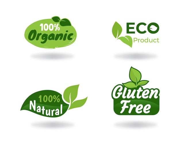 Conjunto de etiquetas de logotipo de alimentos orgânicos