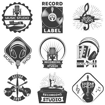 Conjunto de etiquetas de loja de música