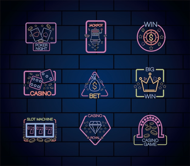 Conjunto de etiquetas de luzes de néon de cassino na parede