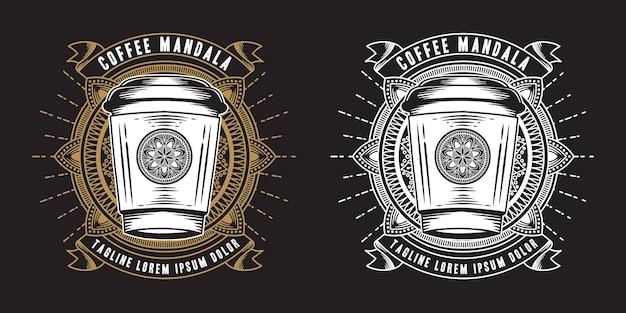 Conjunto de etiquetas de mandala de café abstrato
