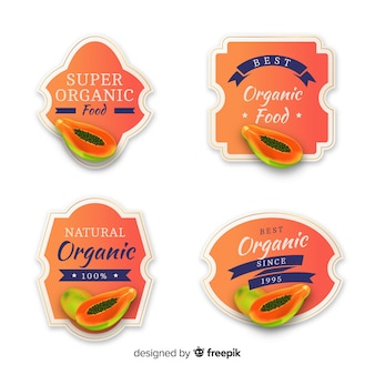 Conjunto de etiquetas de manga orgânica realista