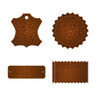 Conjunto de etiquetas de marca de couro.