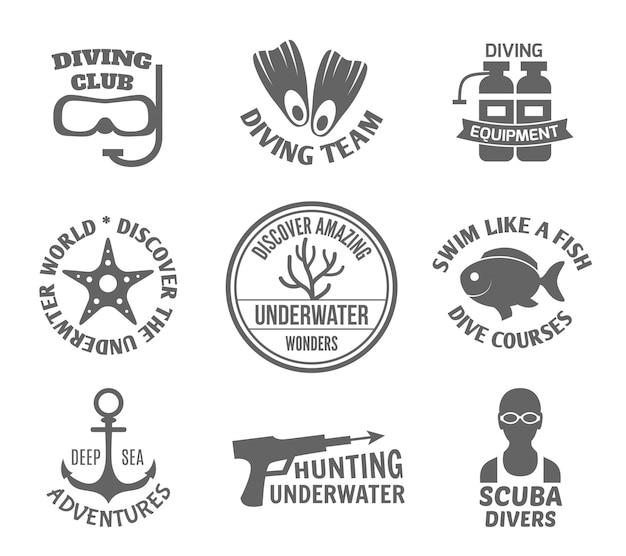 Conjunto de etiquetas de mergulho