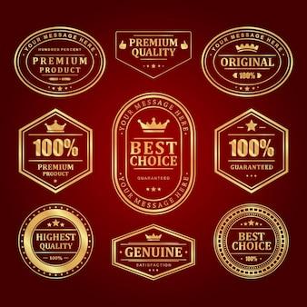 Conjunto de etiquetas de molduras douradas
