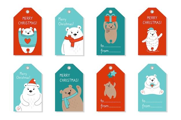 Conjunto de etiquetas de natal cartoon urso polar e marrom