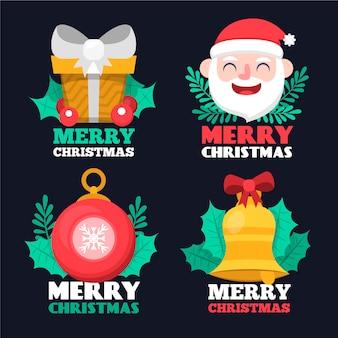 Conjunto de etiquetas de natal de design plano