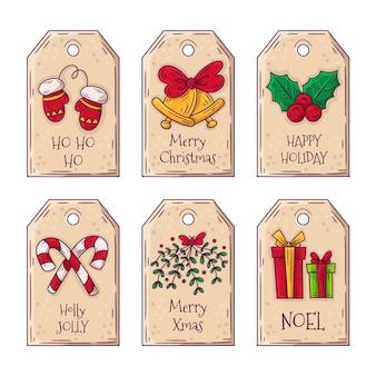 Conjunto de etiquetas de natal desenhado à mão