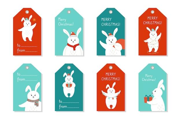 Conjunto de etiquetas de natal, desenho de coelho