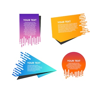 Conjunto de etiquetas de origami colorido para seu texto