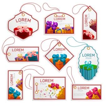 Conjunto de etiquetas de pacote de presente