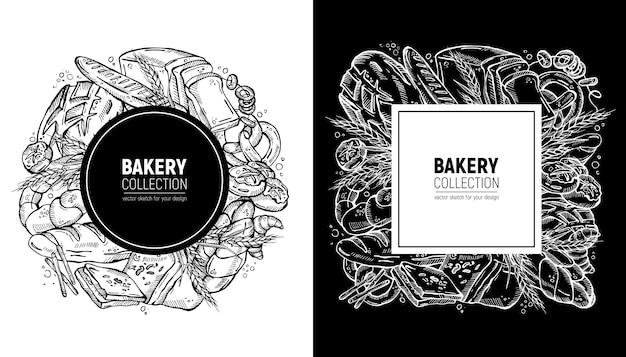 Conjunto de etiquetas de padaria desenhada à mão
