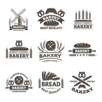Conjunto de etiquetas de padaria vintage. modelo de logotipo em grande estilo. ilustração de loja de etiqueta de padaria, emblema e emblema do mercado de pão