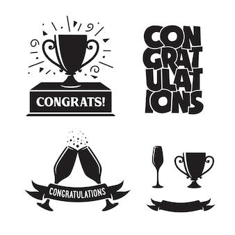 Conjunto de etiquetas de parabéns.