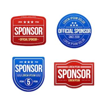 Conjunto de etiquetas de patrocinador de design plano