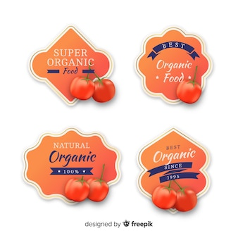 Conjunto de etiquetas de pêssego orgânico realista
