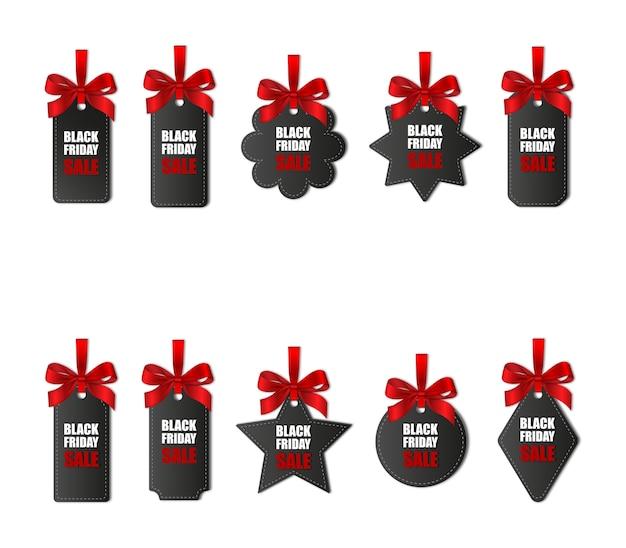 Conjunto de etiquetas de preço de sexta-feira negra com laços e fitas vermelhas