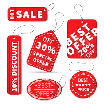 Conjunto de etiquetas de preço de venda colorido brilhante em branco