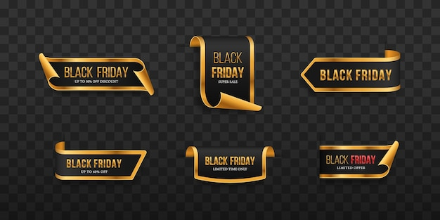 Conjunto de etiquetas de preço pretas design de etiqueta para black friday etiqueta de vendas realistas