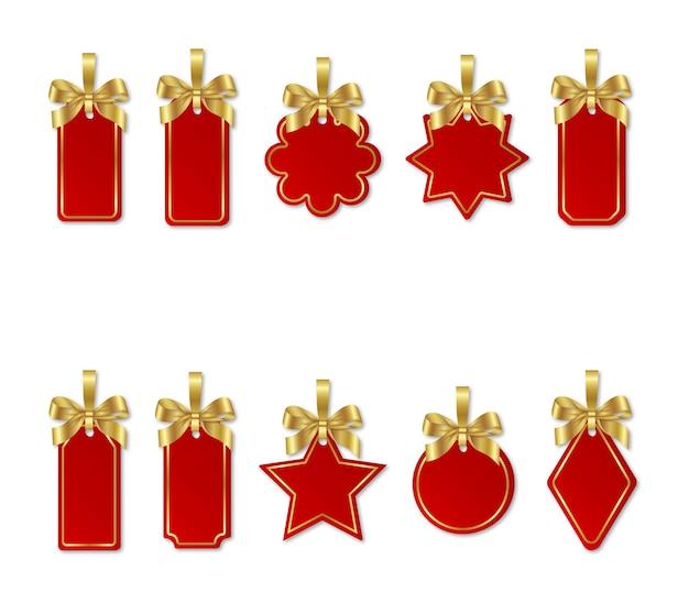 Conjunto de etiquetas de preços de natal vermelhas com laços de ouro