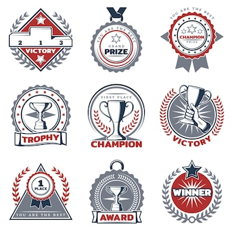 Conjunto de etiquetas de prêmios esportivos coloridos