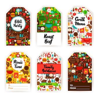 Conjunto de etiquetas de presente de churrasco. ilustração em vetor design plano da identidade da marca.