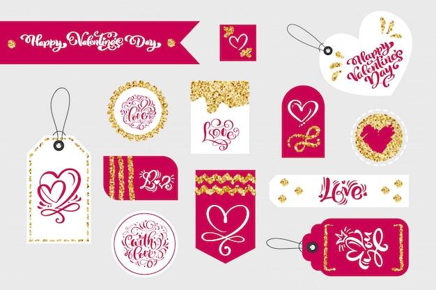 Conjunto de etiquetas de presente de dia dos namorados com tipográfica
