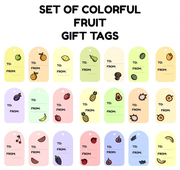 Conjunto de etiquetas de presente de frutas coloridas