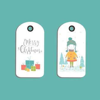 Conjunto de etiquetas de presente de natal bonito, cartões com letras de feliz natal, animais, predefinições, árvore e flocos de neve. modelo editável fácil. ilustração perfeita para cartão postal, cartaz, crachá, banner.