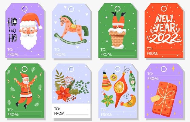 Conjunto de etiquetas de presente de natal e ano novo
