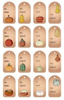 Conjunto de etiquetas de presente de rabiscos bonitos de abóbora