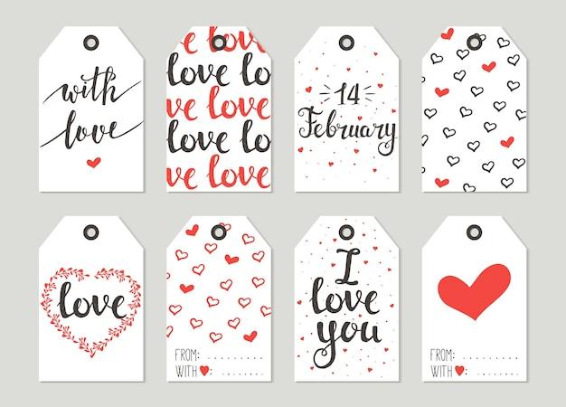Conjunto de etiquetas de presente do dia dos namorados