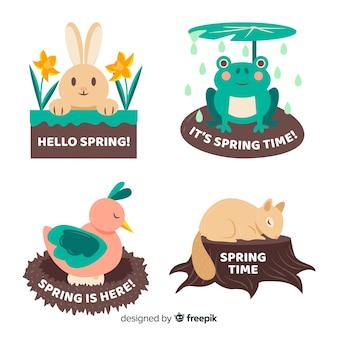 Conjunto de etiquetas de primavera animal