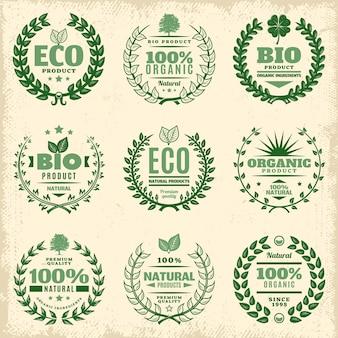 Conjunto de etiquetas de produtos ecológicos vintage