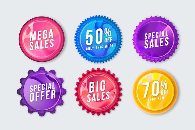 Conjunto de etiquetas de promoção de vendas