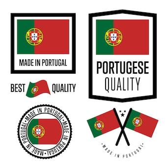 Conjunto de etiquetas de qualidade de portugal