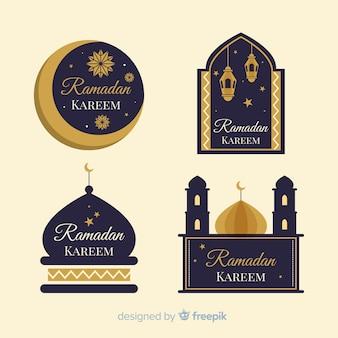 Conjunto de etiquetas de ramadan design plano