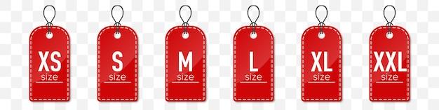 Conjunto de etiquetas de roupas de tamanho vermelho com sombra