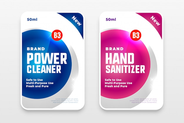 Conjunto de etiquetas de sabão em pó e desinfetante para as mãos