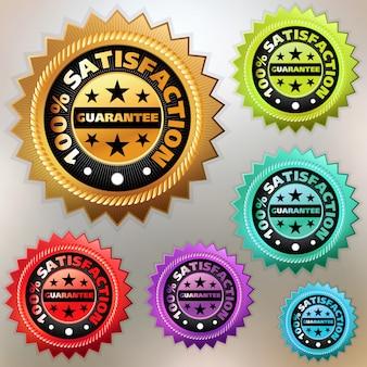 Conjunto de etiquetas de satisfação multicolor.