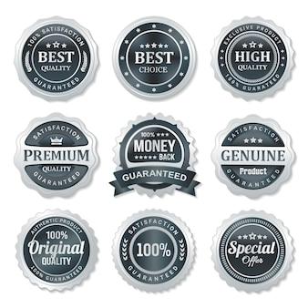 Conjunto de etiquetas de selo de qualidade e garantia