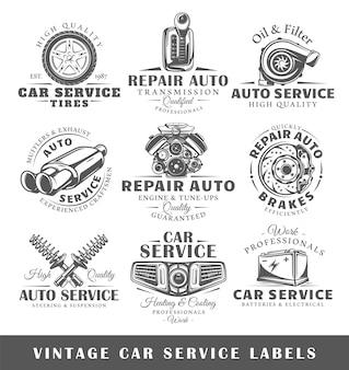 Conjunto de etiquetas de serviço de carros antigos