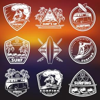 Conjunto de etiquetas de surf brancas vintage