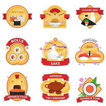 Conjunto de etiquetas de sushi